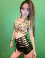 Nicki Minaj same style hot selling fashion spicy chicken dj female singer costumes ds costume cutout high waist shorts