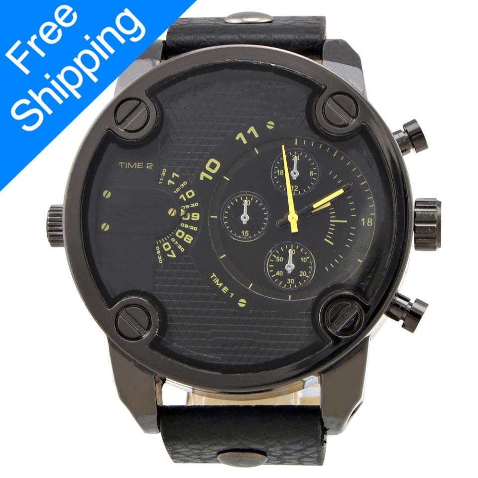 2014 New Men Casual Fashion With Small Pointers Wristwatch Men's Full Steel Quartz Watch Calendar Man Watch Big Dial 45MM W005(China (Mainland))