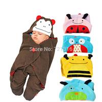 Newborn Bebe Animal Character Coral Fleece Blanket & Swaddling, Baby Stroller Cobertor, Infant Wrap Sleeping Bag, Saco De Dormir