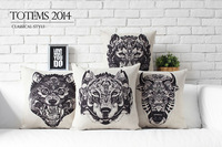 Indians Totem Wolf ,Bull ,Tiger Linen Cotton Cushion Cover  Pillow Cover  Decorative Sofa Pillow  Car CushionFree Shipping