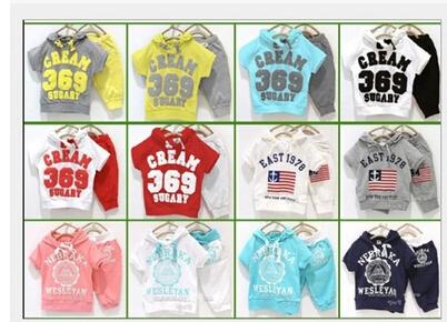 2015 summer girls boys cream 369 children clothing set baby clothes short-sleeve T-shirt hoodies pant kids suit Free Shipping(China (Mainland))