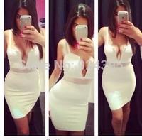 2014 New hot Sexy black white deep v neck mesh Spaghetti Strap bandage dresses hl party evening dress celebrity dress wholesale