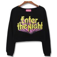 three-dimensional letter print HARAJUKU loose sweatshirt short design color block letter sweatshirt  women crop top