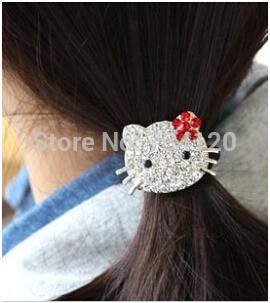 TS105 mix wholesale hot 2014 New Hello Kitty Korean Fashion Rhinestone Hair Rope Korean Hair Accessories Rubber Band for women(China (Mainland))