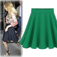 Fashion Elegant 2014 Girls High Waist Solid Pleated Skirts Summer New Style Green Blue and Black Midi Skirt Wholesale Garment