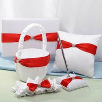 Complete Set of Satin White & Red Ribbons Wedding Collection Wedding Guest Book  Anniversary Wedding Favors WGB005