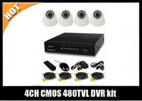 free shipping 4CH D1 CCTV Security DVR Kit 4pcs 480TVL dome IR camera system