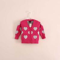2014 hot sale brand children girls v-neck heart shape cardigans knitwear sweater 4 color