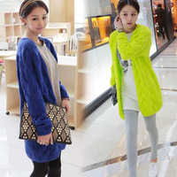high quality 2014 autumn and winter women's sweater cardigans thicken outerwear knitted long stylish lady sweater cardigans 2055
