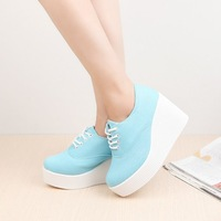 2014 High Heel Wedge Sneaker Woman platfrom shoe designer shoes for women sport sneakers Fashion Muffin slope with canvas shoes