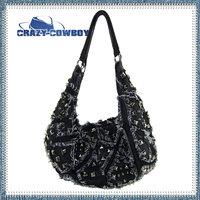 New arrivals dual-use fashion denim bag rivet shoulder bag wholesale mountaineering women handbag bolsa femininas 2014 cowboy
