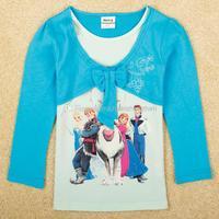 Wholesale - Hot FROZEN tops nova 2014 children winter clothing 2 in 1 girls long sleeve t-shirts cute design cartoon baby clothe
