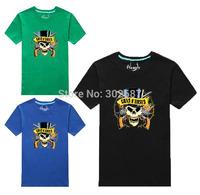 100%Cotton Men Short Sleeve T-Shirt Women Skull Printed Summer Tops Free Shipping 1PCS