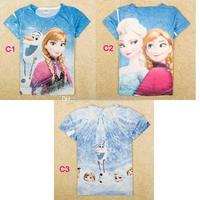 Wholesale - 2014 Fashion FROZEN Tshirt Princess Elsa Anna Olaf Girls Children Clothing Frozen Tshirts Tee Tops Kids Clothes Chil