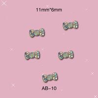 New Arrival Hotsale Fashion Japanese  Fake Nails  Bow Tie  Alloy Nail 3D DIY  Nail Decorations with Rinestone 100pcs/lot