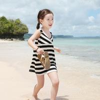 Free shipping! 2014 New Girls bohemian beach dress girls striped princess dress children's clothing full dresses kids baby