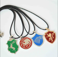 A Song Of Ice And Fire Game Of Thrones Targaryen Dragon/ Wolf / Lion / Deer badge Necklace