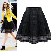Saia Plissada 2014 Summer Fashion Midi Tulle Skirt Women High Waist Black White Pleated Skirt Saias Femininas Work Organza Skirt