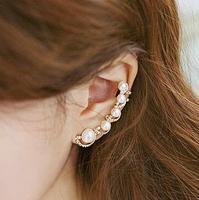 Min order 10usd, 2014 New Fashion Luxury Ladies Rhinestone Imitation Pearl Long Clip Ear Earring