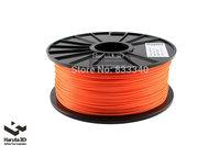 New Fluorenscence Orange 3d printer filament PLA ABS 1.75mm 3mm 1kg/spool Colorful Option for Makerbot/Reprap/Mendal