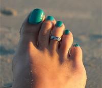 Celebrity Simple Retro Toe Ring, Adjustable Foot Fashion  5Pcs