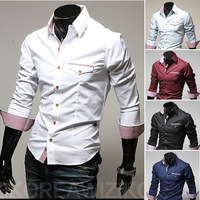 2014 men's fashion shirt men solid color shirts Autumn Spring men's shirt long-sleeved Casual Shirts men 5 color size: XS/S/M/L