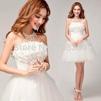 Sweet Three-dimensional Flower Pearl Bridesmaid Dress / Small Bridal Dress 89