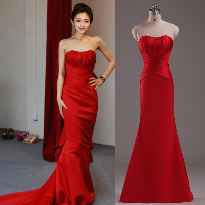 Diamond Fishtail Wedding Dresses : The bride toast red dress oblique shoulder sexy evening