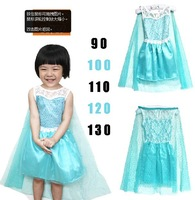 Free shipping wholesale new 2014 summer Frozen Elsa girls prince party dress with cloak Baby & Kids clothes lace blue clothing