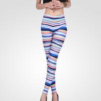 FS-2514 Summer Fall 2014 Fashion Nine Minutes Graffiti Stretch Leggings For Women