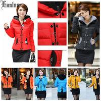 Lanluu 2014 Winter New Korean Slim Short Cotton Coat Large Size Padded Hooded Women Down Jacket SQ606
