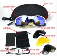 2014 NEW Brand OK Bicycle Jawbone Cycling Eyewear Glasses Sport Sunglasses UV400 3 Lens Sporting Sun Glasses Goggles