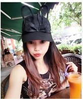 freeshipping  2014new design fashion gauze rabbit ears baseball cap ,women sun hat