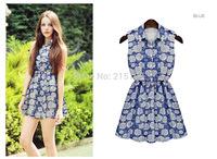 2014 summer/autumn mini dress no sleeves o-neck blue print floral dress women girl linen streamline shivering FLORAL-PRINT