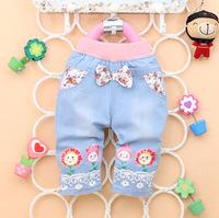 Free shipping 2014 new summer Korean baby girls pants  Printed denim fashion  cartoon sunflower boy pants A282