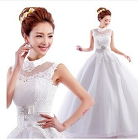 Freeshiping with Petticoat~Sexy Perspective Mandarin Collar Lace Crystal Butterfly Princess Wedding Dress 81