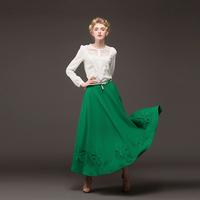 2014 Vintage French Romance Three-dimensional Embroidered Skirt Bust Skirt Super Large Green Skirt For Women 9001#