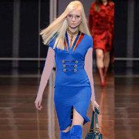 New Arrival Runway Fashion Women Royal Army Stylish Pencil Dresses Knee-length VC4018 Plus Size XXL