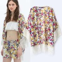 2014 New arrivals Ladies' Elegant Floral Print loose kimono blouse non-button Tassel Shirt vintage cardigan brand design tops