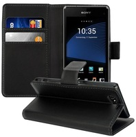 Wallet Leather Case For 2014 Sony Xperia Z1 Compact Flip Cover with Card Slot Handbag