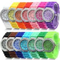 Free Shipping 14 colors Fashion Silicone GENEVA Watch Hot Selling Women Dress Watch Women Rhinestone Watches 1piece