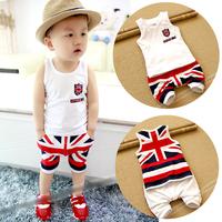 2014 summer children's clothing male child pure cotton vest fashion twinset T-shirt baby sleeveless shirt pure cotton vest