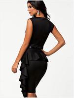 Hot Sale women work wear Dresses New 2014 ruffles OL sleeveless dresses black color M L size