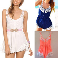 free shipping 2014 Stitching lace halter Rompers, ladies playsuit jumpsuit macacao feminino overalls