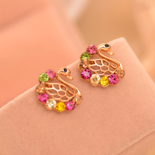 Fashion New Multicolor Dog And Swan Cute Animals Lovely Stud Earrings for Women Jewelry