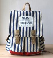 blue navy striped canvas shoulder bag backpack female Korean fashion cute Japanese fabric bags