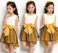 2014 Hot sale girls Summer dress  Sleeveless Chilffon Bowknot Girls Casual mermaid Princess Dresses