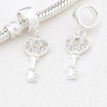 encaixa pandora pulseira diy fazen 100% 925 prata esterlina pingente contas zircão coração encantos jóias mulheres frete grátis(China (Mainland))