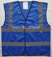 il trasporto libero 2 pz/lotto alta visibilità blu adulto giubbotto di sicurezza riflettente gilet traffico gilet costruzione con velcro(China (Mainland))