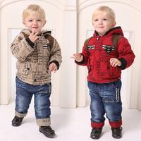 2014 New Winter baby boy sets children's red thickening plus velvet Cowboy jacket set children outerwear 0-3year two size free